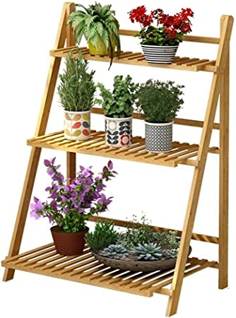 Stands para plantas Estantes para flores Stand de exhibición Escalera de 3 niveles Estante de flores plegable de madera Estantes de esquina Estantes de jardín Exhibición de plantas de jardín para mace: