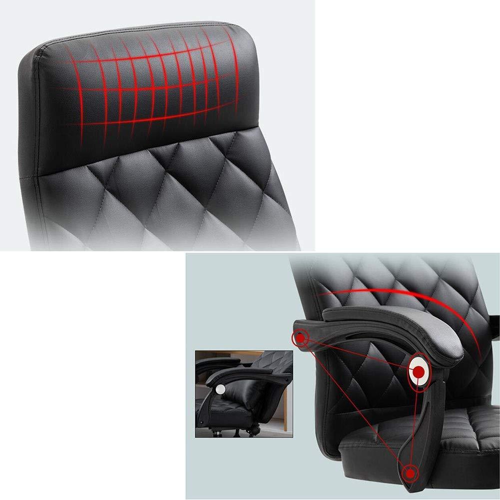 DALL Swivel kontorsstol PU-kudde dator skrivbordsstol högrygg lutningsfunktion fast armstöd justerbar höjd 44–54 cm Brun Svart