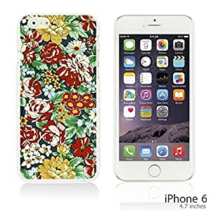 OnlineBestDigital - Flower Pattern Hardback Case for Apple iPhone 6 (4.7 inch)Smartphone - Retro Floral Print
