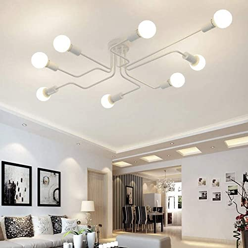 RUXUE White Industrial Modern Semi Flush Mount Ceiling Light Fixtures 8 Lighs Vintage Pendant Lights E26 Bulb Sockets White