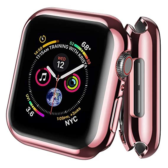 super popular 9384d b136d AdMaster Screen Protector for Apple Watch Series 4 40mm, Full Around  Protective Clear Case Ultra-Thin TPU Cover for iWatch Series 4 (Rose Gold)