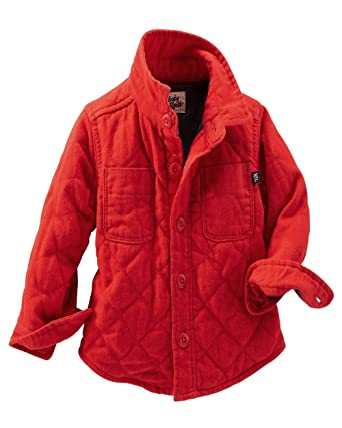 ef06ebfc646e Amazon.com  OshKosh B Gosh Baby Boys  Quilted Shirt Jacket - Red - 0 ...