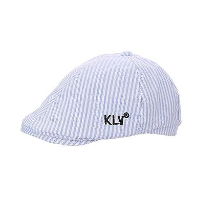 ACVIP Kids Boy Girl Striped 6 Panels Duckbill Flat Cap Sun Hat (Light Blue) 0f2c06210ff2