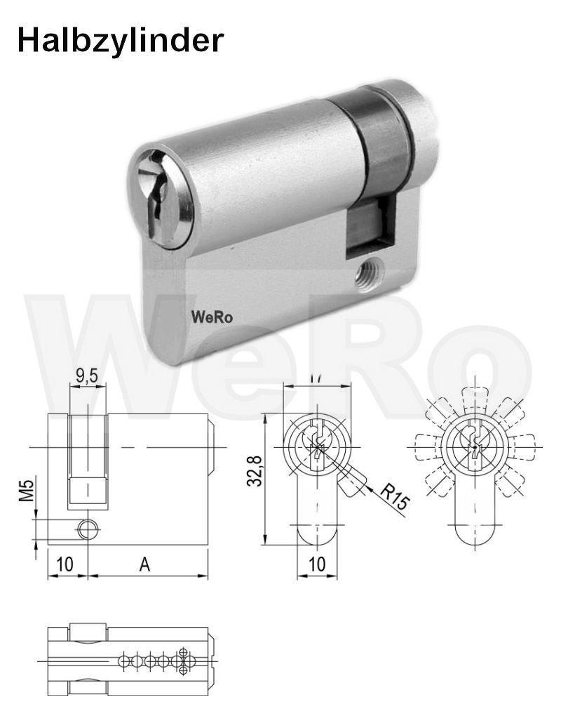 Doppelzylinder Schlie/ßzylinder f/ür gleichschlie/ßendes SET// Variante L/änge A:30 mm B:35 mm