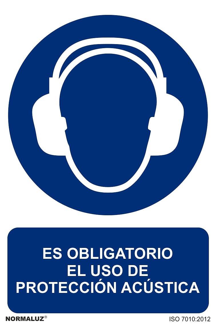 Señal RD21015 - Es Obligatorio El Uso De Protección Acústica 30x40 cm PVC Glasspack 0, 7mm Obligación Homologada Forever Print