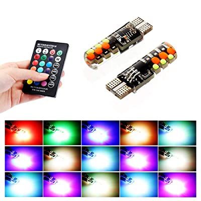 Led W5W T10 RGB Clearance Light Universal Car RGB COB 12SMDs Colorful Multi Mode Car Light Bulbs With Remote Controller,for Car Interior Reading light, Roof light,Trunk light,Interior light (2pcs): Automotive