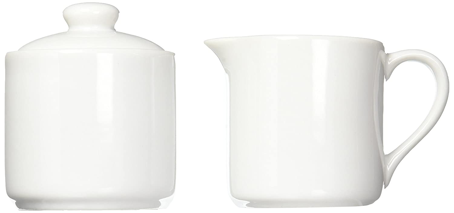 HIC Harold Import Co. YK-27W Sugar and Creamer Set for Coffee and Tea, 6-Ounce, 2 Piece, White, Porcelain