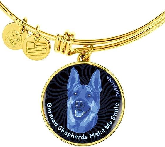 Steel or 18k Gold Finish Adjustable Many Colors DuFauna Blue//Black Dogs Make Me Smile Bangle Bracelet D19