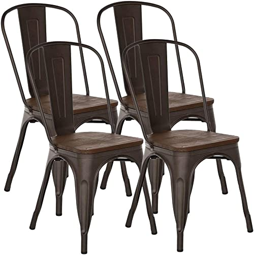 H JINHUI Chairs for Dining Room, Stackable Side Chairs with Wood Seat Top Set of 4,Vintage Metal Indoor Outdoor Kitchen Chair,Dark Brown