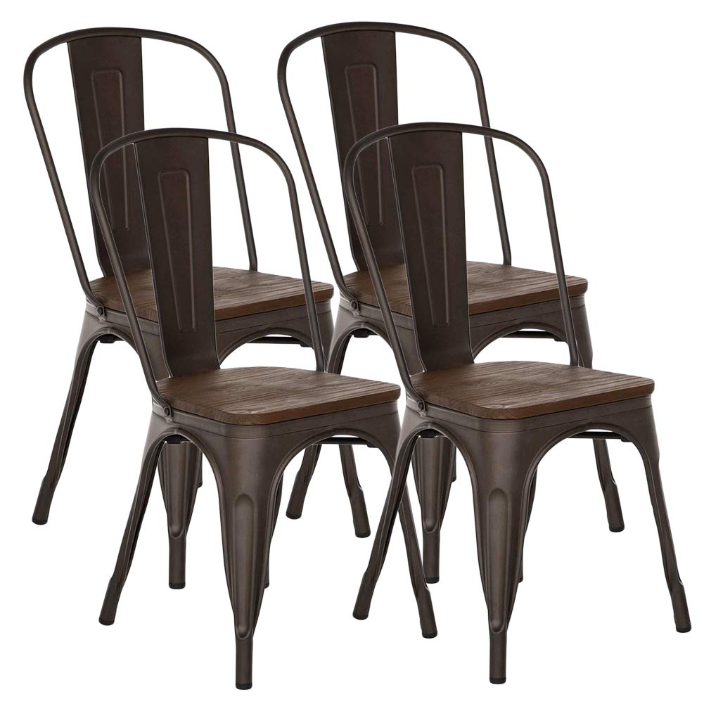H JINHUI Metal Dining Chairs with Wooden Seat, Stackable High Back Trattoria Chair Chic Dining Bistro Cafe Side Metal Chairs Set of 4 Bronze