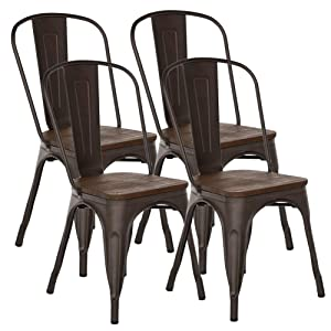 H JINHUI Chairs for Dining Room Stackable Side Chairs with Wood Seat/Top Set of 4 Metal Chairs for Kitchen Patio Bistro Cafe Trattoria Distressed Vintage Chic Antique Metal Chairs