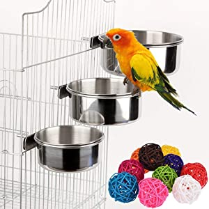 3 Pcs Parrot Bird Bowl Parrot Food Dish Stainless Steel Birds Feeding Cups with 6 Pcs Rattan Balls Bird Toy DIY Accessories Toy(Random Color)