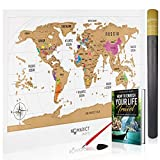 Deluxe Scratch Off World Map - Colorful Travel Poster with US States! Track and Share Your Adventures. Includes FREE Scratcher, Precision Pen and E-Book - Personalized Gift