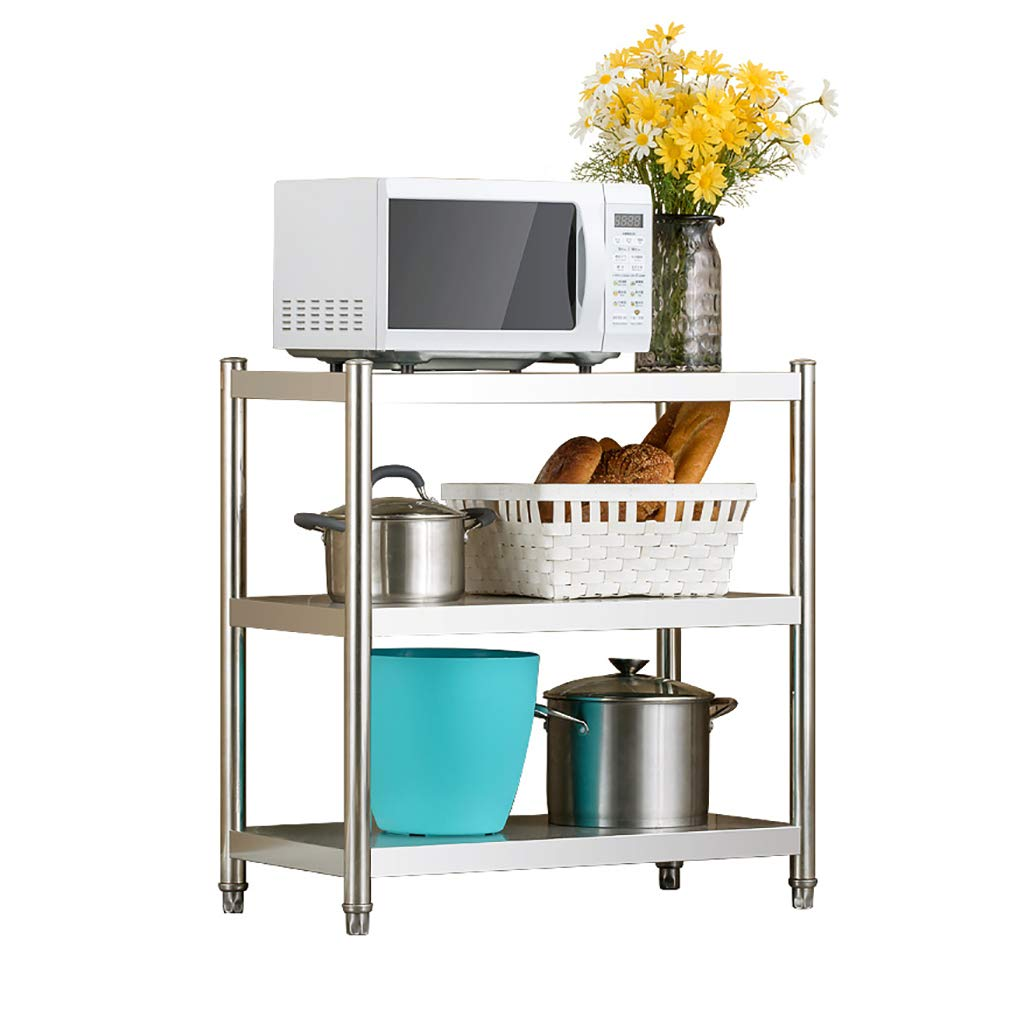 Kitchen Shelf Stainless Steel Microwave Oven Rack, Multi-Function Kitchen Cabinet and Cabinet Rack Storage Rack, 5 Sizes Kitchen Storage Racks (Size : 60 * 40 * 80cm)