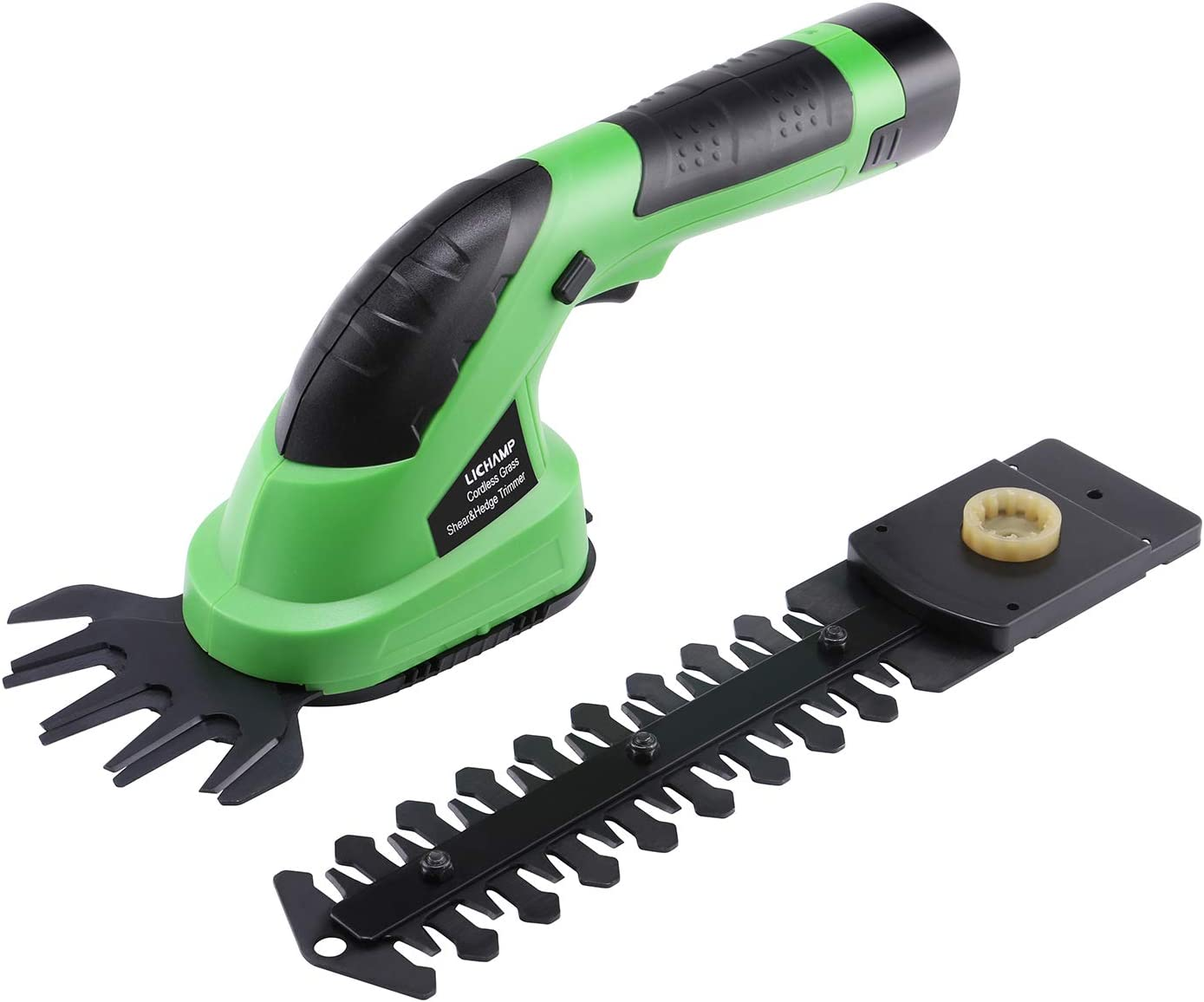 Lichamp 2-in-1 Electric Hand Held Grass Shear Hedge Trimmer Shrubbery Clipper Cordless Battery Powered Rechargeable for Garden and Lawn, CGS-7201 7.2V Grass Green