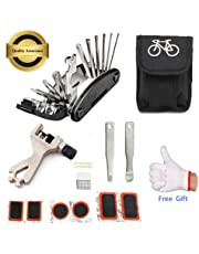 July Miracle Bike Repair Tool Kit, 16 in 1 Multi-function Bicycle Mechanic Fix Portable Tools Set Bag with Chain Tool and Tire Patch Levers
