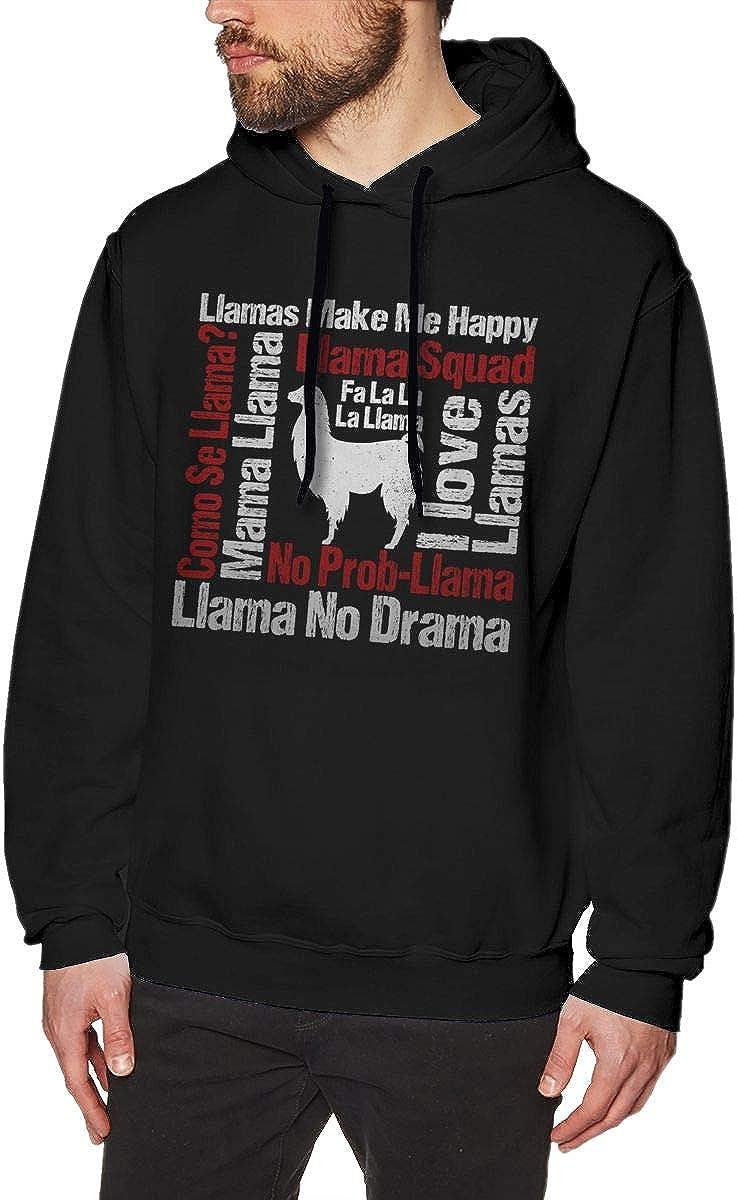 Llama Make Me Happy Mens Pullover Hoodies Casual Hooded Sweatshirt