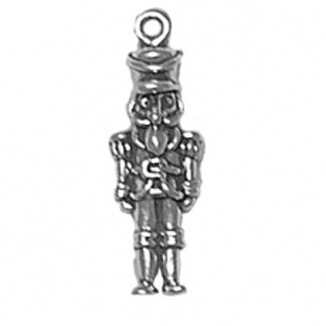 Sterling Silver 7 4.5mm Charm Bracelet With Attached 3D Wooden Military Toy Soldier Charm