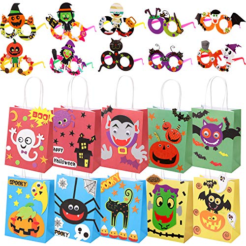 Diy Halloween Pinatas (20 Pieces Halloween DIY Trick or Treat Bags Candy Goodie Bag Funny DIY Party Decorative Glasses for Kids (Style Set)
