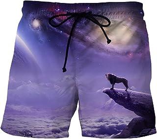 Sinedoly Men's Beach Pants de Lignes numériques 3D Short Short Sport Casual Poches Latérales