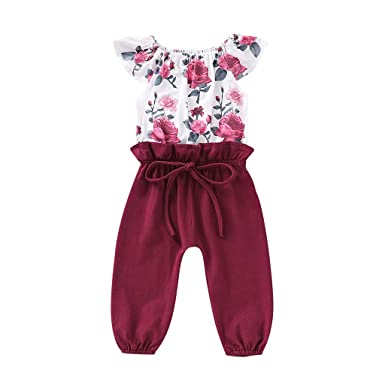 d7f93429f98 Amazon.com  2019 Baby Girl Romper Leegor Infant Kids Floral Short Sleeve  Bow Pant Bodysuit Jumpsuit Sunsuit Overalls  Clothing