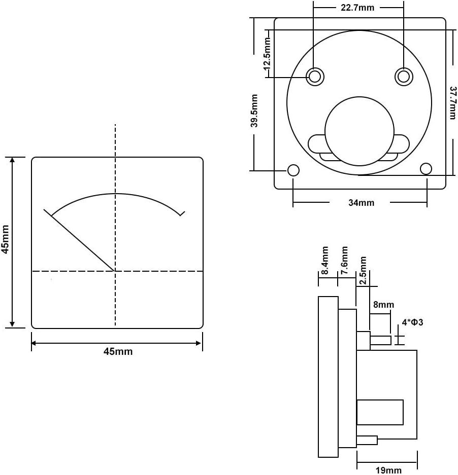 Sourcingmap 91C4-A Medidor de corriente anal/ógica DC 1A Amper/ímetro para pruebas de circuito Ampere Tester Gauge 1 pieza