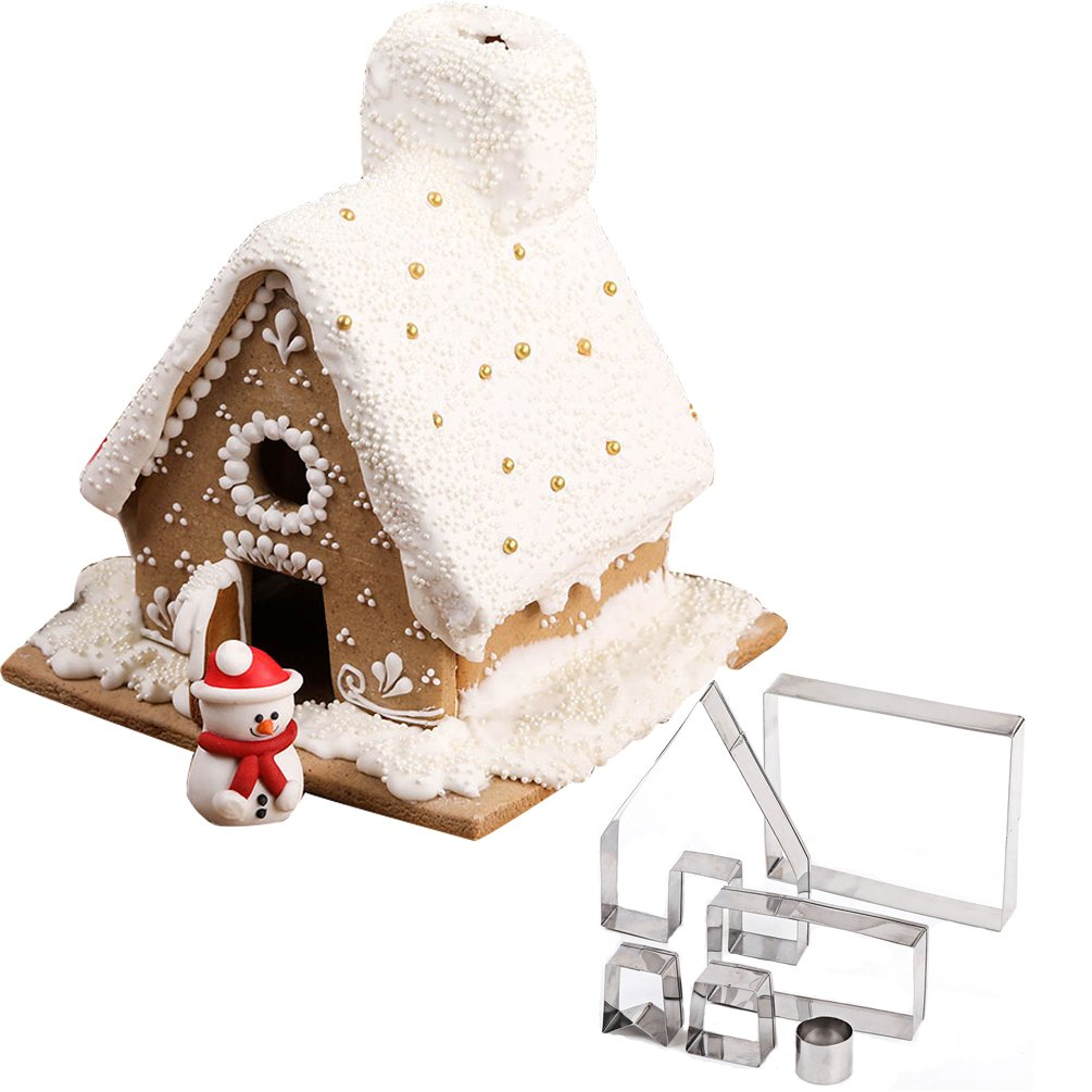 Christmas Gingerbread House Mold Cookie Cutter 6pcs Stainless Steel Kit Bake Chocolate Decoration Set