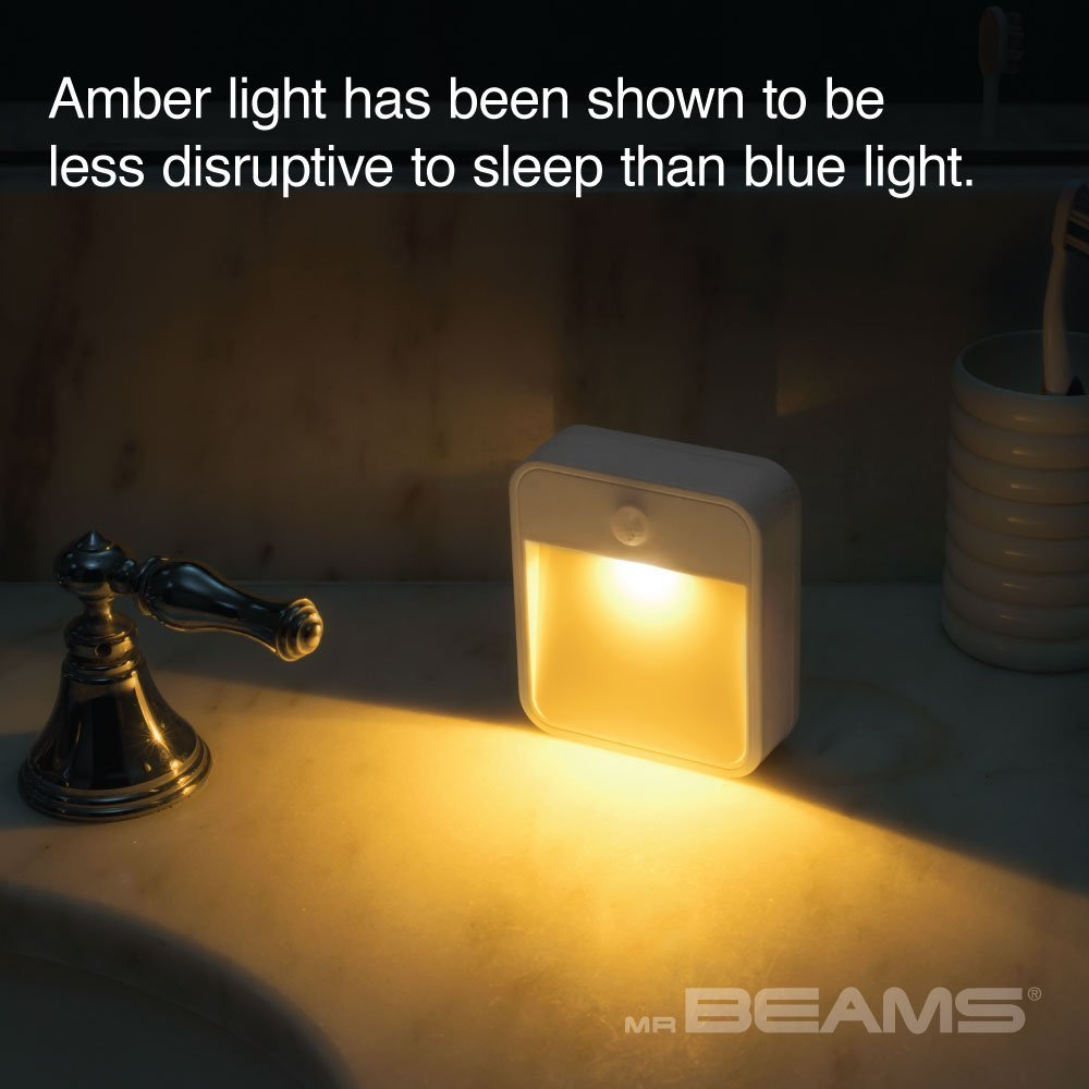 White MB720A-WHT-01-00 Mr 1-Pack Beams MB720A Sleep Friendly Battery-Powered Motion-Sensing LED Stick-Anywhere Nightlight with Amber Color LED Light