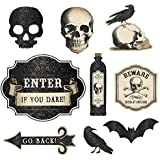 "Amscan 190524 Eerie Boneyard Halloween Party Assorted Creepy Cutouts Decoration, Fabric, 12"", Black/Grey"