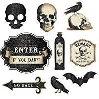 "Eerie Boneyard Halloween Party Assorted Creepy Cutouts Decoration, Fabric, 12"" Pack of 9"