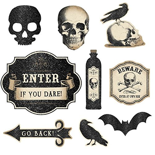 Eerie Boneyard Halloween Party Assorted Creepy Cutouts Decoration, Fabric, 12
