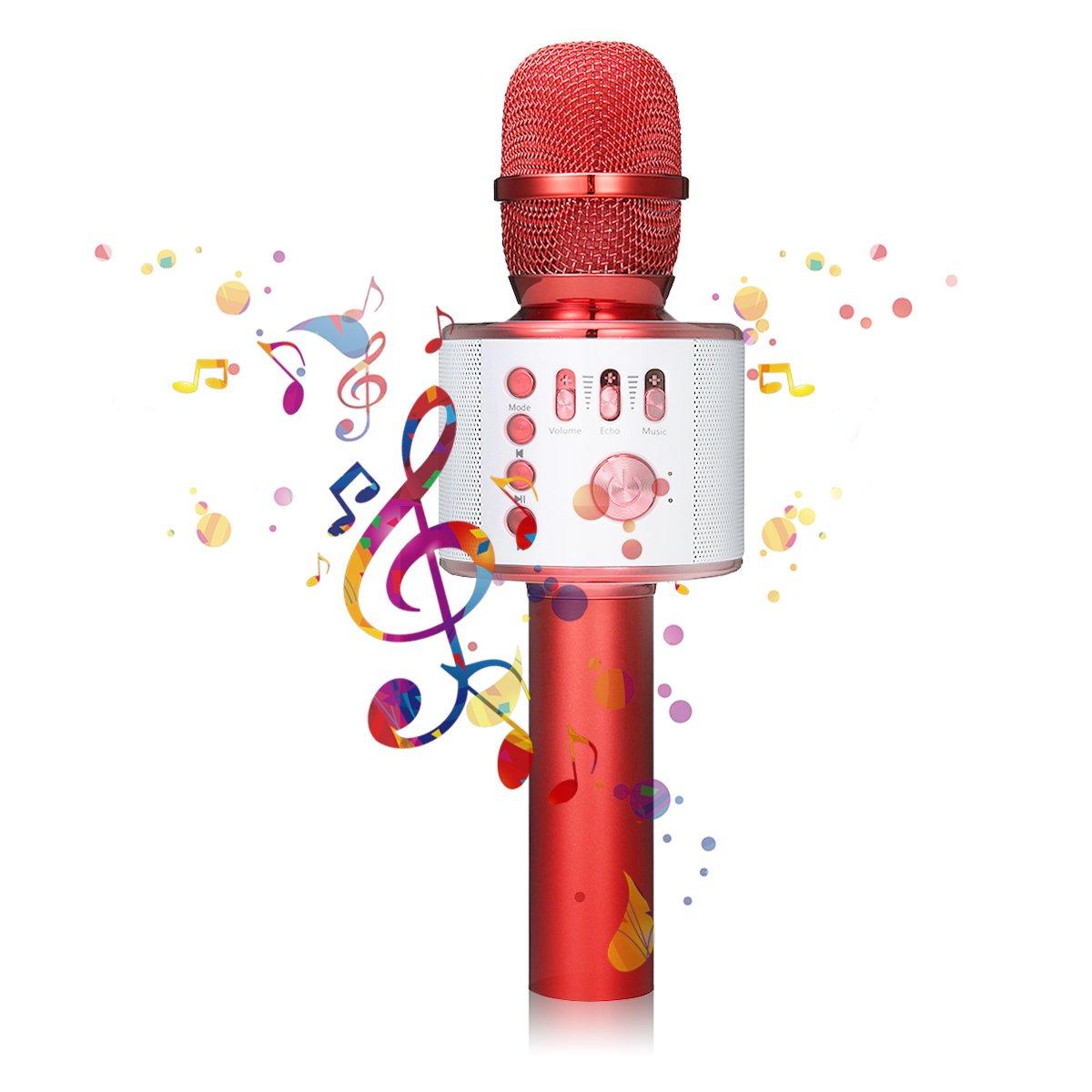 Bluetooth Karaoke Mikrofon, NASUM,tragbare drahtlose Mikrofon mit Lautsprecher für Erwachsene und Kinder für Sprach- und Gesangsaufnahmen,kompatibel mit Android /IOS, PC oder Alle Smartphone NASUMyrkxzoked29
