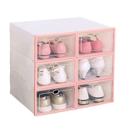 6 cajas de zapatos para mujer, apilables, plegables, plástico, transparente rosado