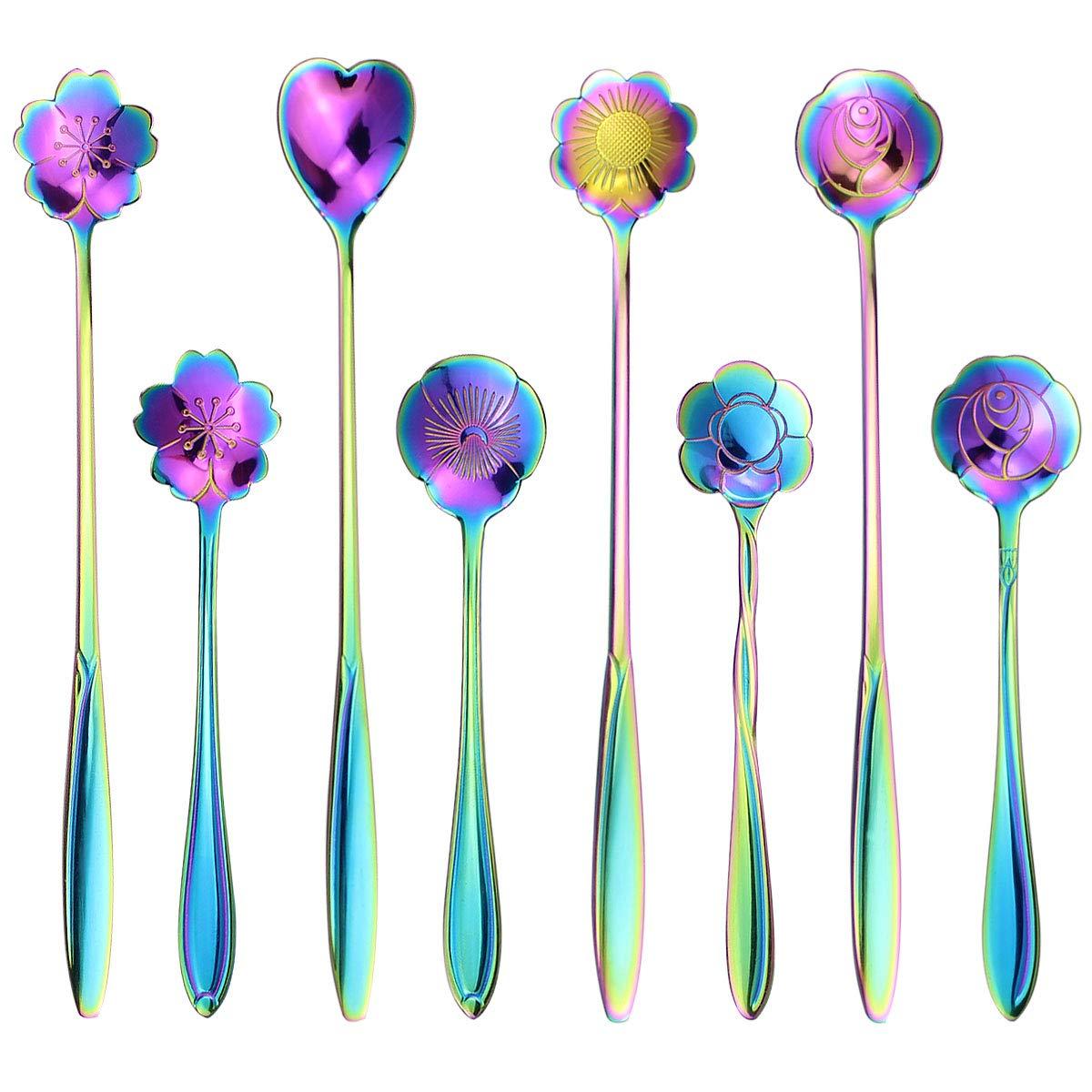 SelfTek 8Pcs Flower Spoon Set, 2 Different Size Colorful Stainless Steel Teaspoons Rainbow Coffee Stirring Spoon by SelfTek