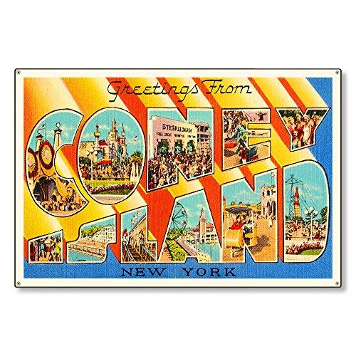 Coney Island New York ny Old Retro Vintage Travel Postcard Reproduction Metal Sign Art Wall Decor 8x12 inch