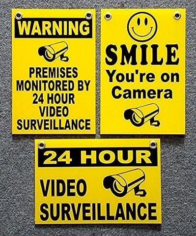 3Pc Superb Popular Security Signs Premises Monitored Outdoor Surveillance Property Anti-Burglar Size 8