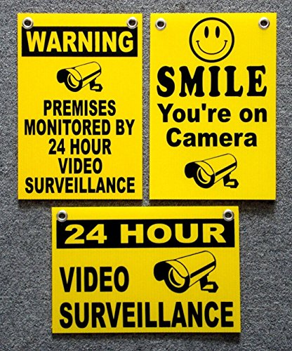 3Pc Superb Popular Security Signs Premises Monitored Outdoor Surveillance Property Anti-Burglar Size 8
