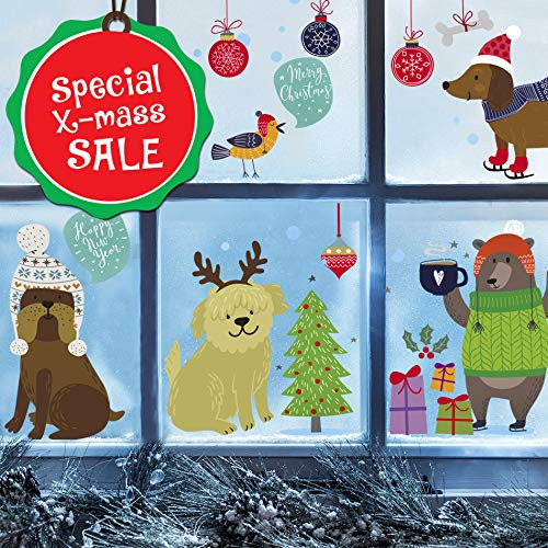 Christmas Dogs Wall Decals for Kids - Cute Winter Decorations Stickers Window Clings Ornaments - Nursery Room Decor [>30 Art Decals] with Free Bird Gift! (Winter Wall Decorations)
