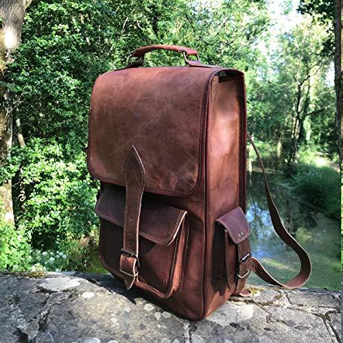 Leather Hand Made, Sac pour Femme à Porter à l'épaule Marron Marron 47 cm x 12 cm x 29 cm