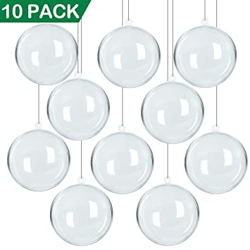 NEWBEA 10 PACK 80mm Plastic Clear Fillable Christmas Ornaments-DIY Acrylic  Ornament Balls for Christmas - NEWBEA 10 PACK 80mm Plastic Clear Fillable Christmas Ornaments-DIY Acrylic  Ornament Balls For Christmas Tree Decorations/Christmas Party Favor