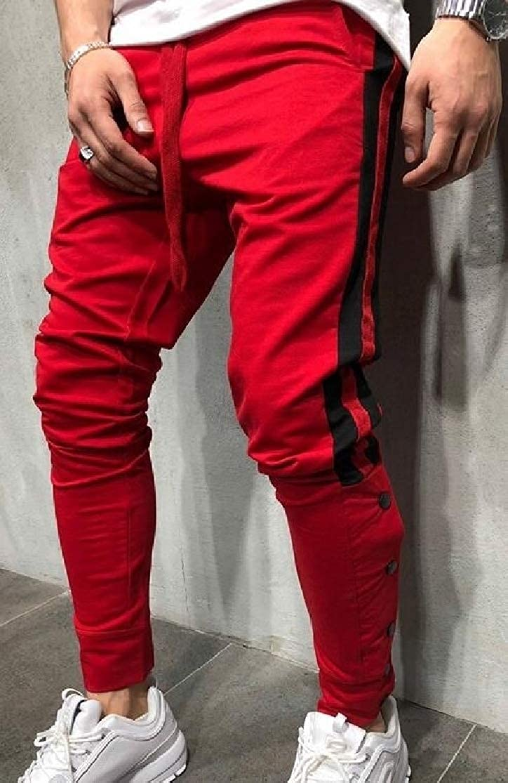 Cromoncent Men Casual Jogger Spliced Stripe Relaxed Pants