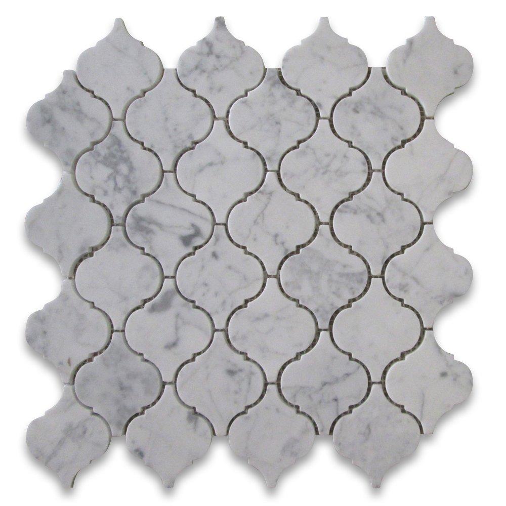 Carrara White Italian Carrera Marble Medium Lantern Shaped Arabesque Baroque Mosaic Tile Honed