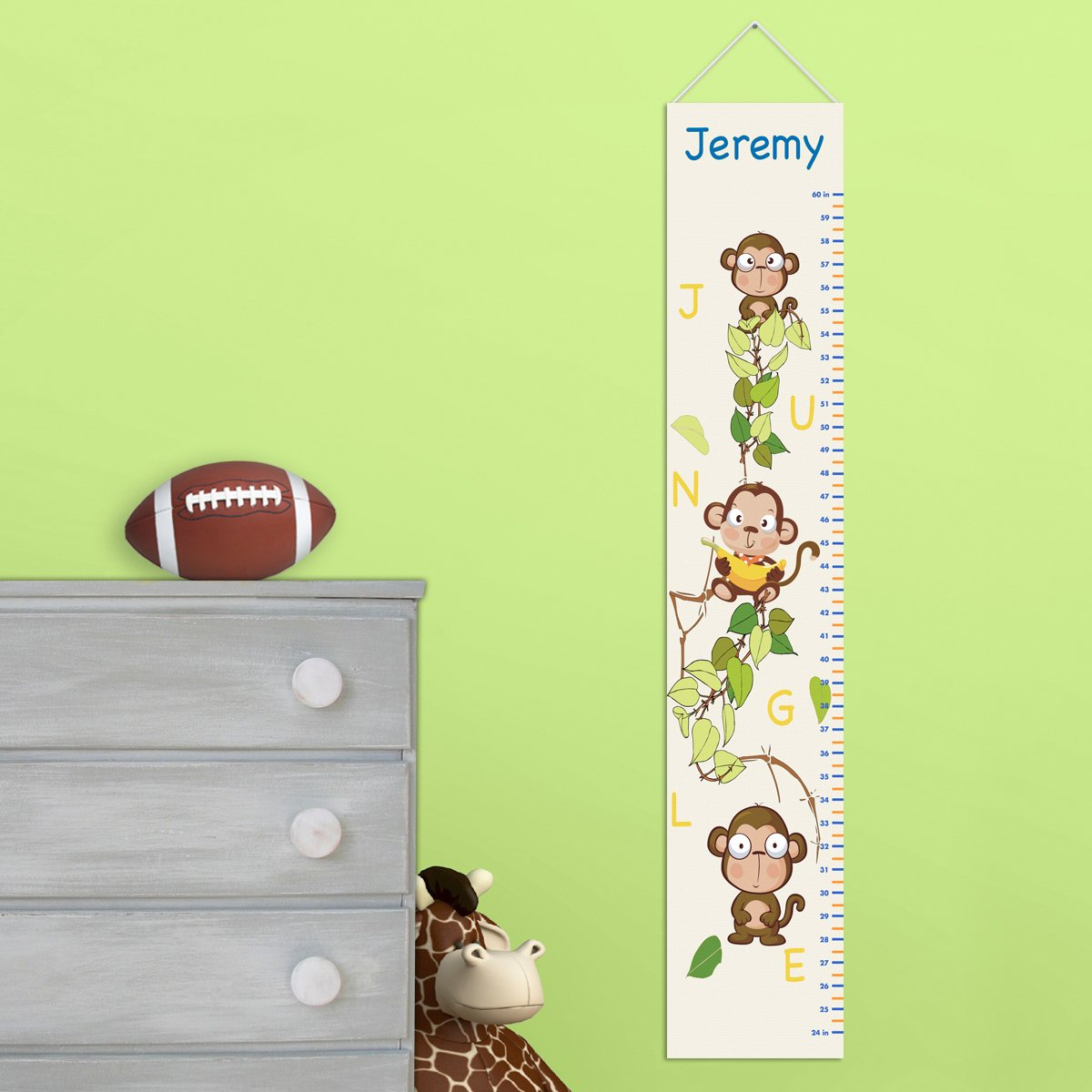 Personalized Monkey Growth Chart - Personalized Height Charts for Boys JDS AZ925 MONKEYS