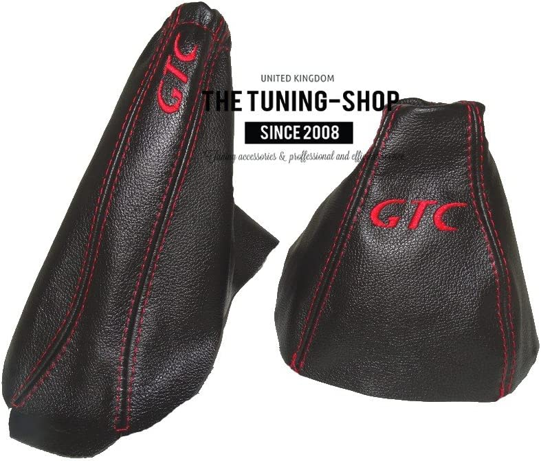Gear y freno de mano piel GTC rojo bordado