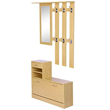 Homcom Hallway Furniture Set Shoes Cabinet Storage 6 Hooks Coat Rack