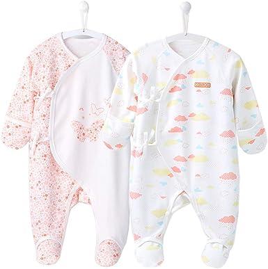 COBROO - Pijama para bebé de 0 a 6 meses con manoplas, estampado de nubes para bebé, con cierre de lazo, 100% algodón, ropa para recién nacidos ...