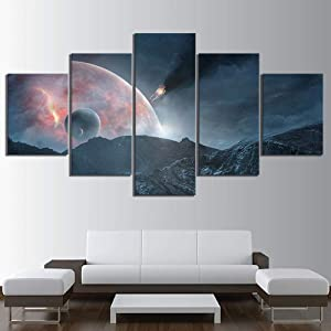 SWXXLY Canvas Prints Painting Home Decor Outer Space Landscape 5 Panel Mass Effect Andromeda Game Modular Bedroom PosterFramed20x35cm20x45cm20x55cm