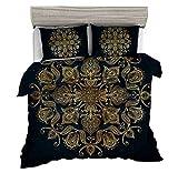 KTLRR Black Gold Color Indian Bohemian Mandala Duvet Cover Set,Hippie Boho Home Decoration 3-Piece Bedding Set-Soft Microfiber,No Comforter (Gold, King 3pcs)