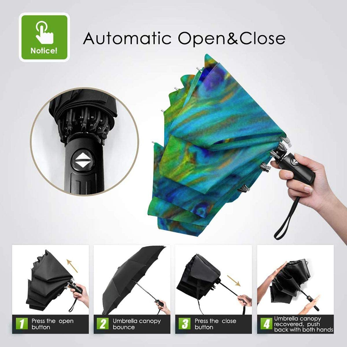 Colorful Peacock Painting Umbrella Compact Rain/&Wind Repellent Umbrellas Sun Protection With Anti UV Coating Travel Auto Folding Umbrella