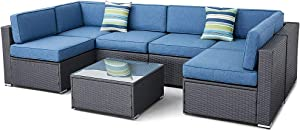 SUNCROWN Outdoor Furniture 7-Piece Patio Wicker Sofa Set Washable Seat Cushions and Glass Coffee Table, Waterproof Cover and Clips